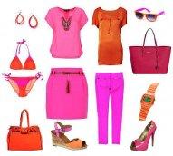 Modne ubrania i dodatki w kolorach fluo